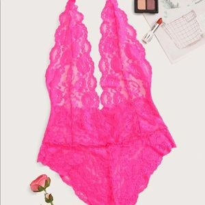 Other - Neon Pink Floral Lace Sheer Teddy Bodysuit